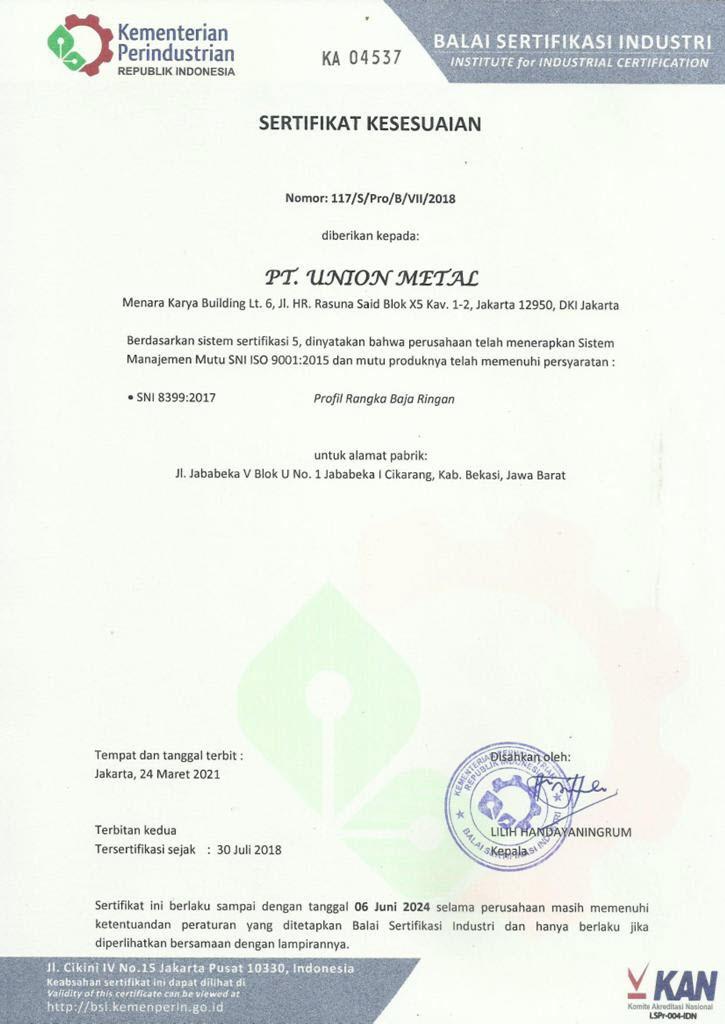 Sertifikasi Union Metal - Baja Ringan