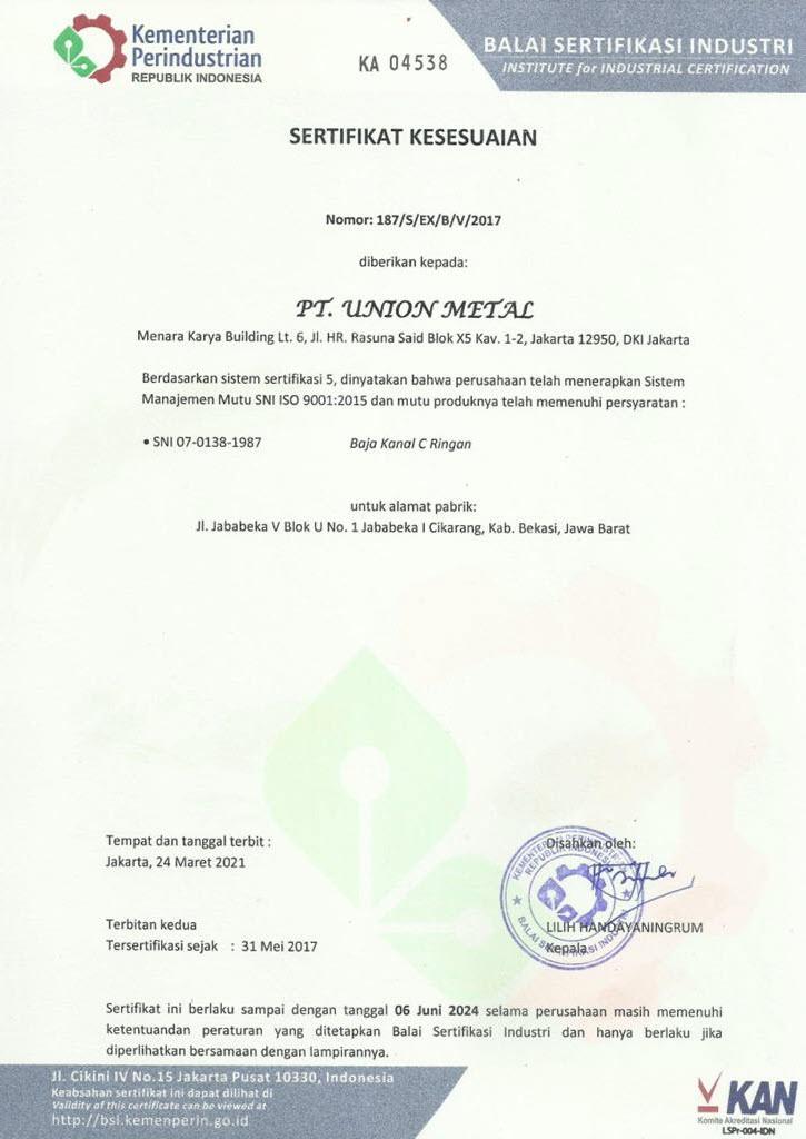 Sertifikasi Union Metal - C-Channel