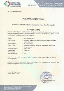 Sertifikasi Union Metal - ISO