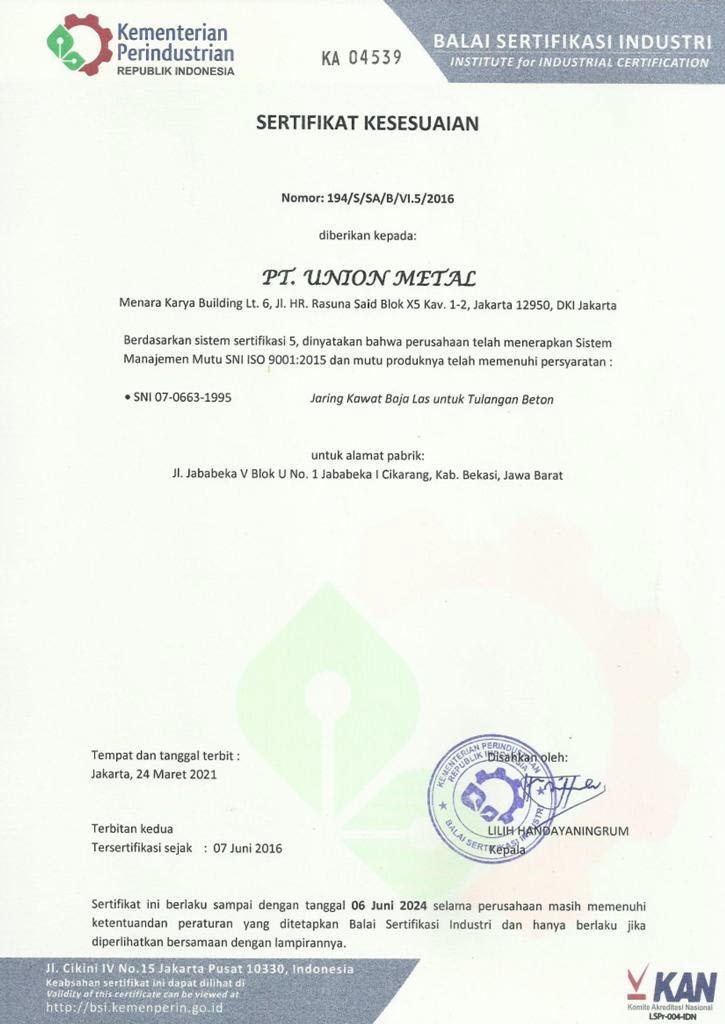 Sertifikasi Union Metal - Wiremesh